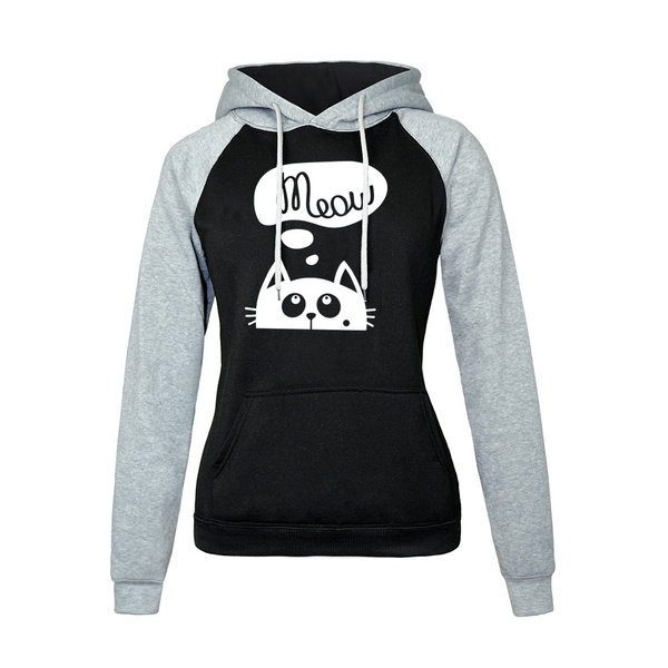 Chat J'adore Sweat Gris / L Pull / Sweat-Shirt à Capuche Meow Chat