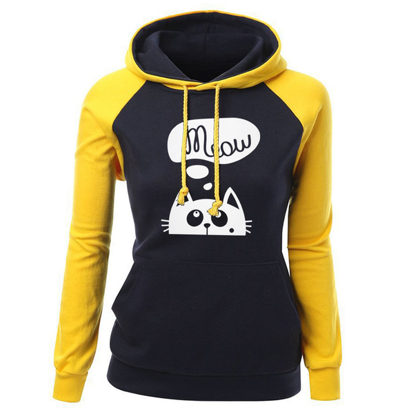 Chat J'adore Sweat Jaune / XL Pull / Sweat-Shirt à Capuche Meow Chat