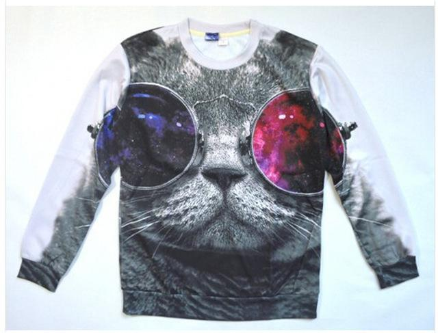 Chat J'adore Sweat L Pull / Sweat-Shirt Chat à lunettes