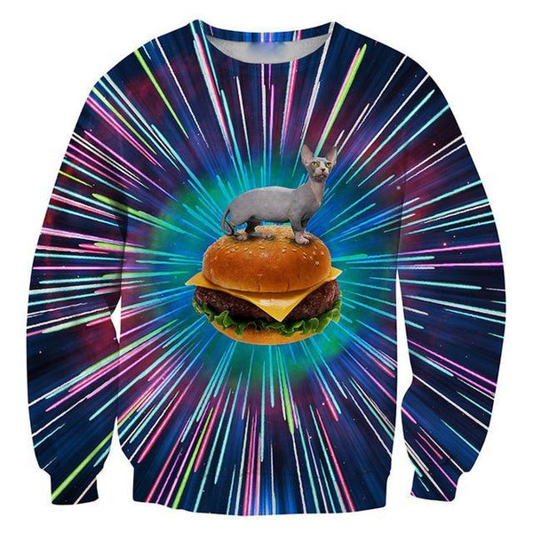Chat J'adore Sweat L Pull / Sweat-Shirt Chat Hamburger
