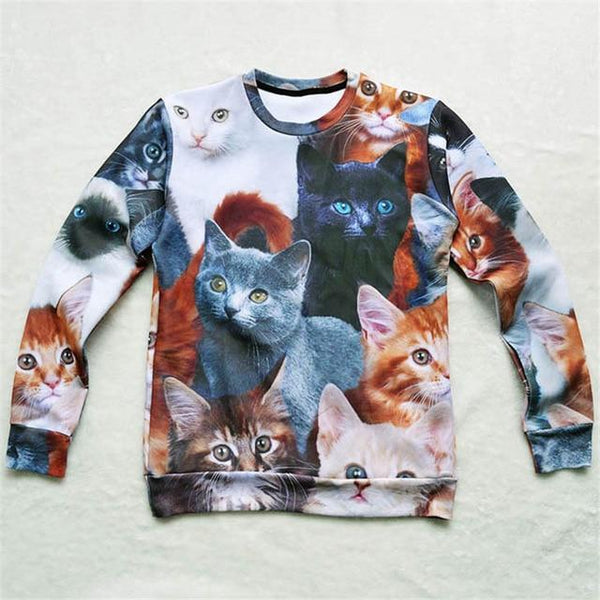 Chat J'adore Sweat L Pull / Sweat-Shirt Multi-Chats