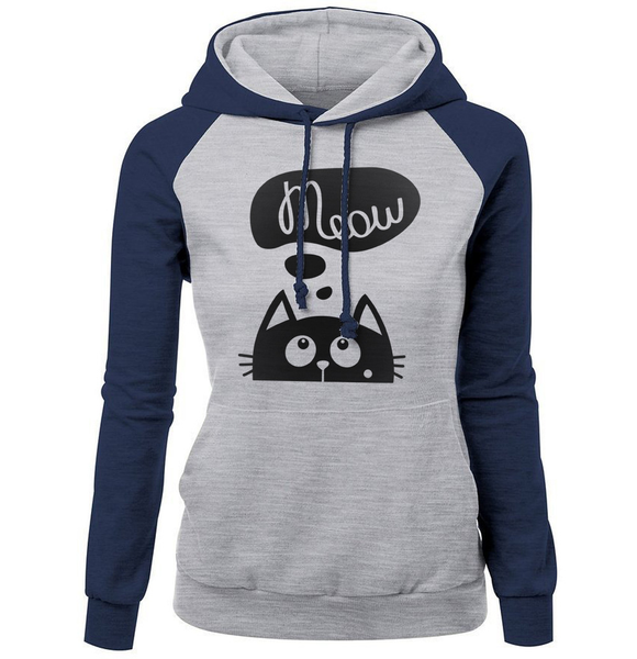 Chat J'adore Sweat Marine motif noir / L Pull / Sweat-Shirt à Capuche Meow Chat