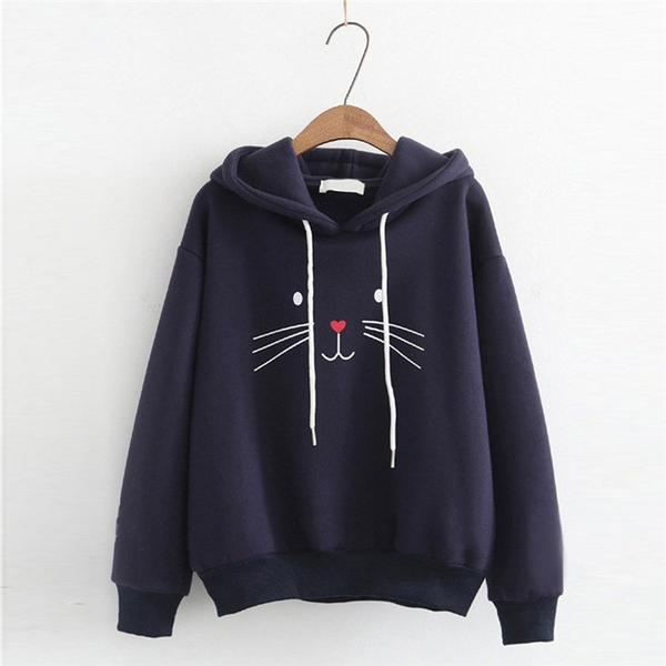 Chat J'adore Sweat Marine / XXL Adorable Pull / Sweat-Shirt à Capuche Chat