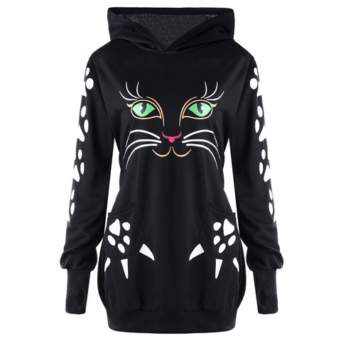 Chat J'adore Sweat Noir / XXL Long Pull Sweat-Shirt à Capuche Chat Yeux Verts