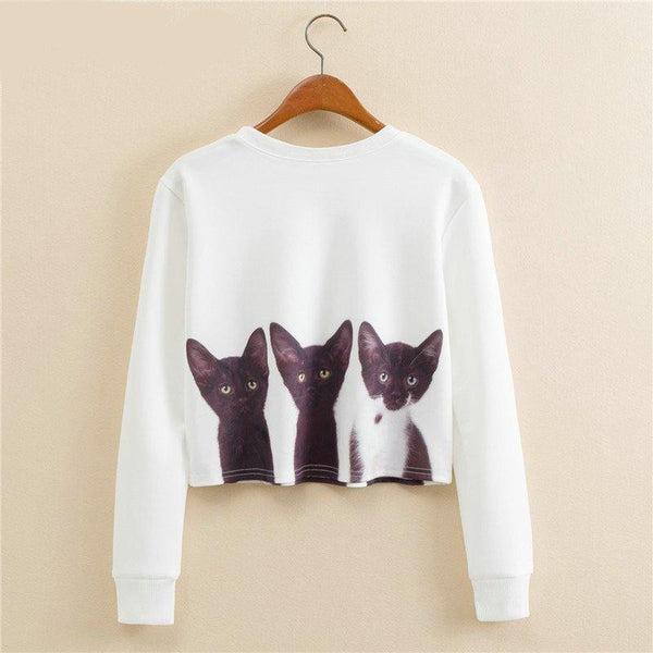 "Chat J'adore Sweat S Haut Court -Crop-Top Femme ""3 Chatons"""