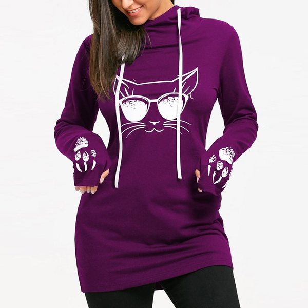 Chat J'adore Sweat Violet / 4XL Long Pull Sweat-Shirt à Capuche Tête de Chat