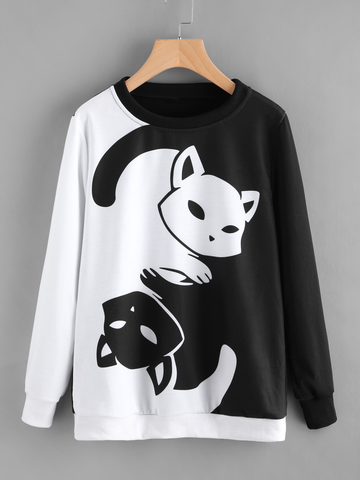 Chat J'adore Sweat XXL Pull / Sweat-Shirt Chat Yin Yang