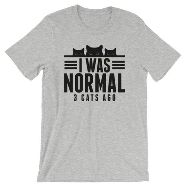 Chat J'adore T-shirt Gris / S T-shirt Femme I was Normal 3 Cats Ago