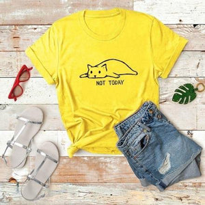 Chat J'adore T-shirt Jaune / M T-shirt Chat Not Today pour Femme