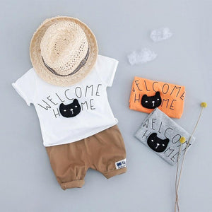 Chat J'adore T-shirt Orange / 70 cm Ensemble T-Shirt et Pantalon Chat Pour Enfants