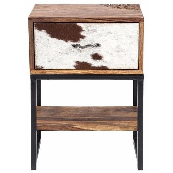 Corcoran Distressed Solid Sheesham Wood U0026 Fur Accent Table