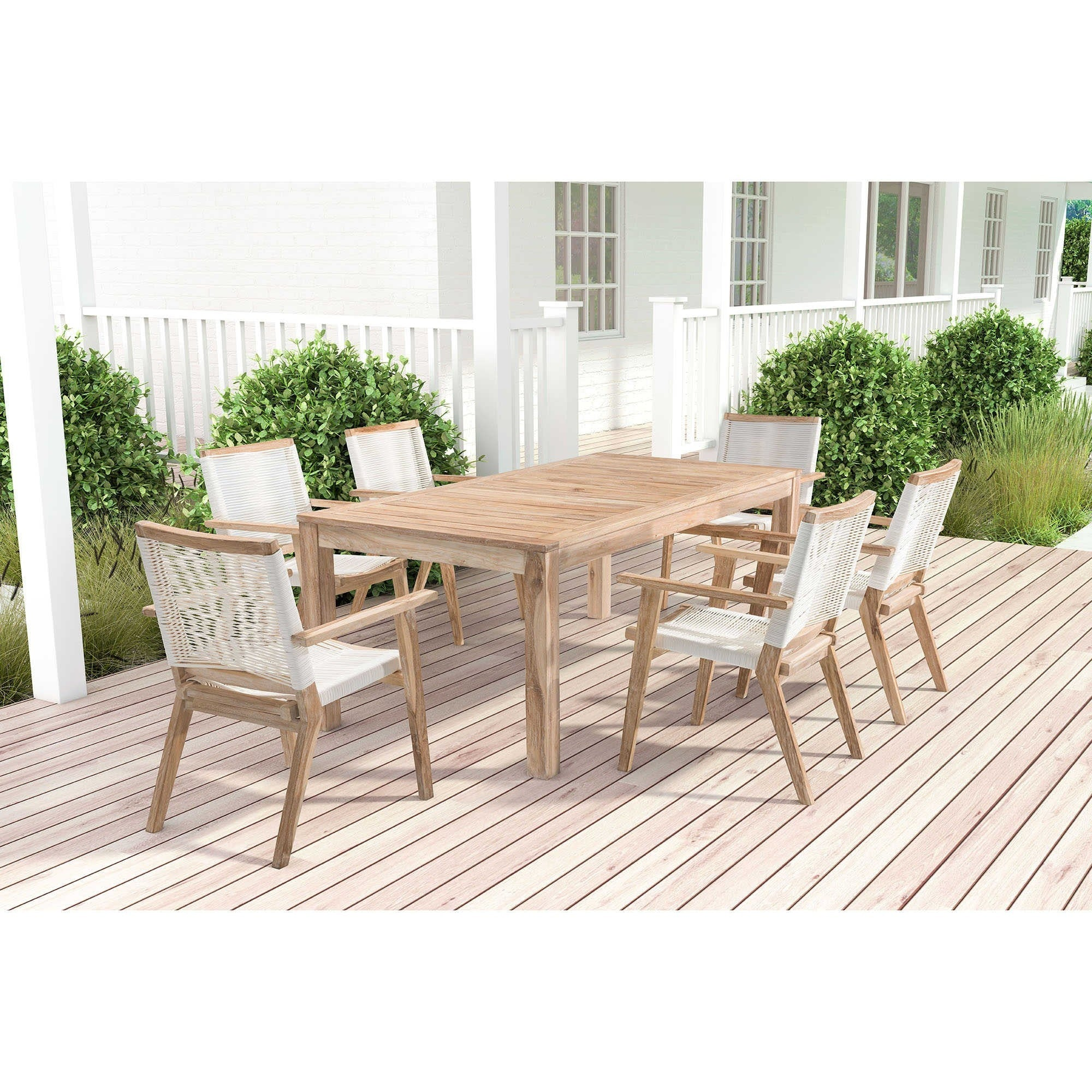 Zuo Modern Westport Patio Dining Set Whitewash Teak PDS S2