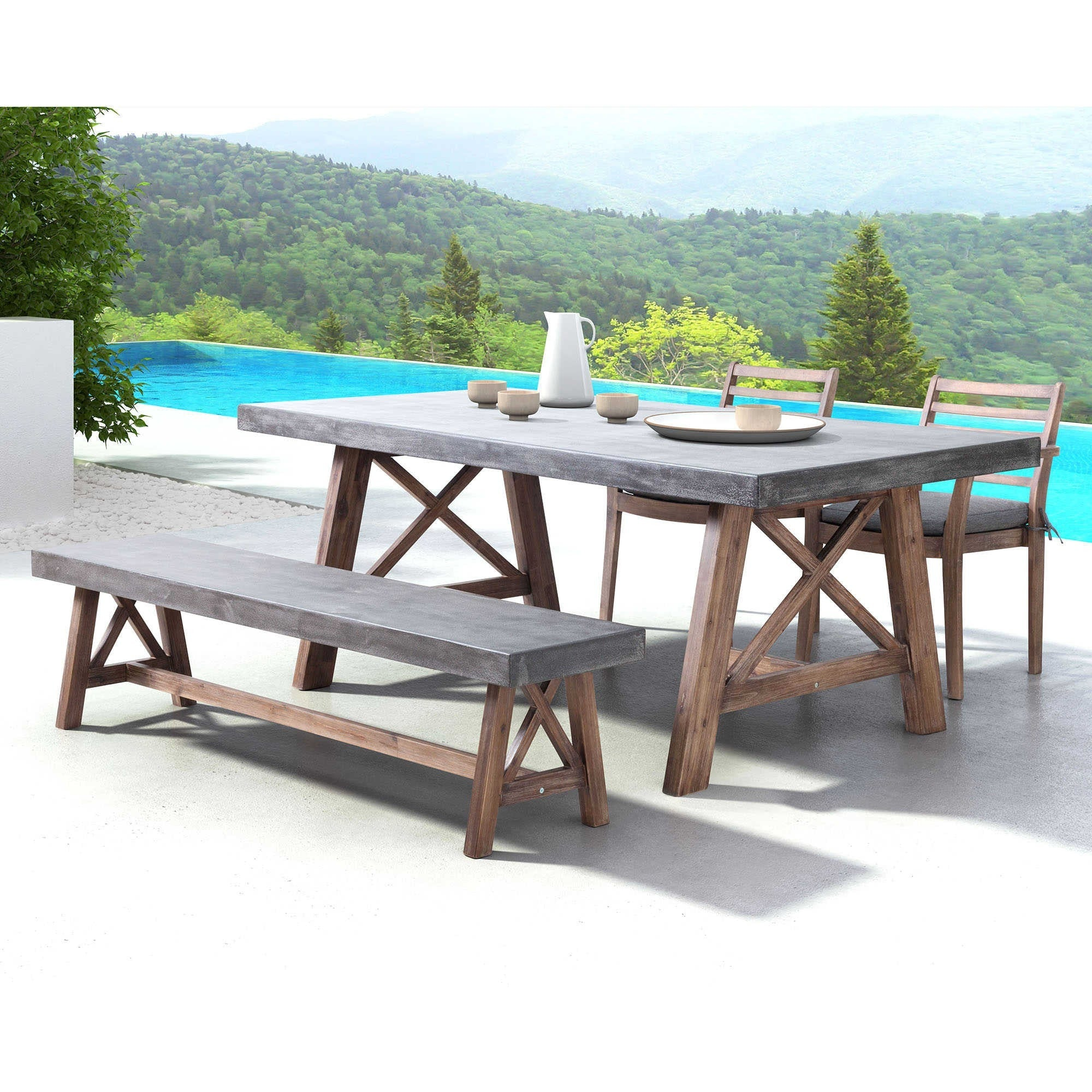 Zuo Modern Ford Outdoor Patio Dining Set Cement U0026 Acacia Wood Natural  703594 OPD S1