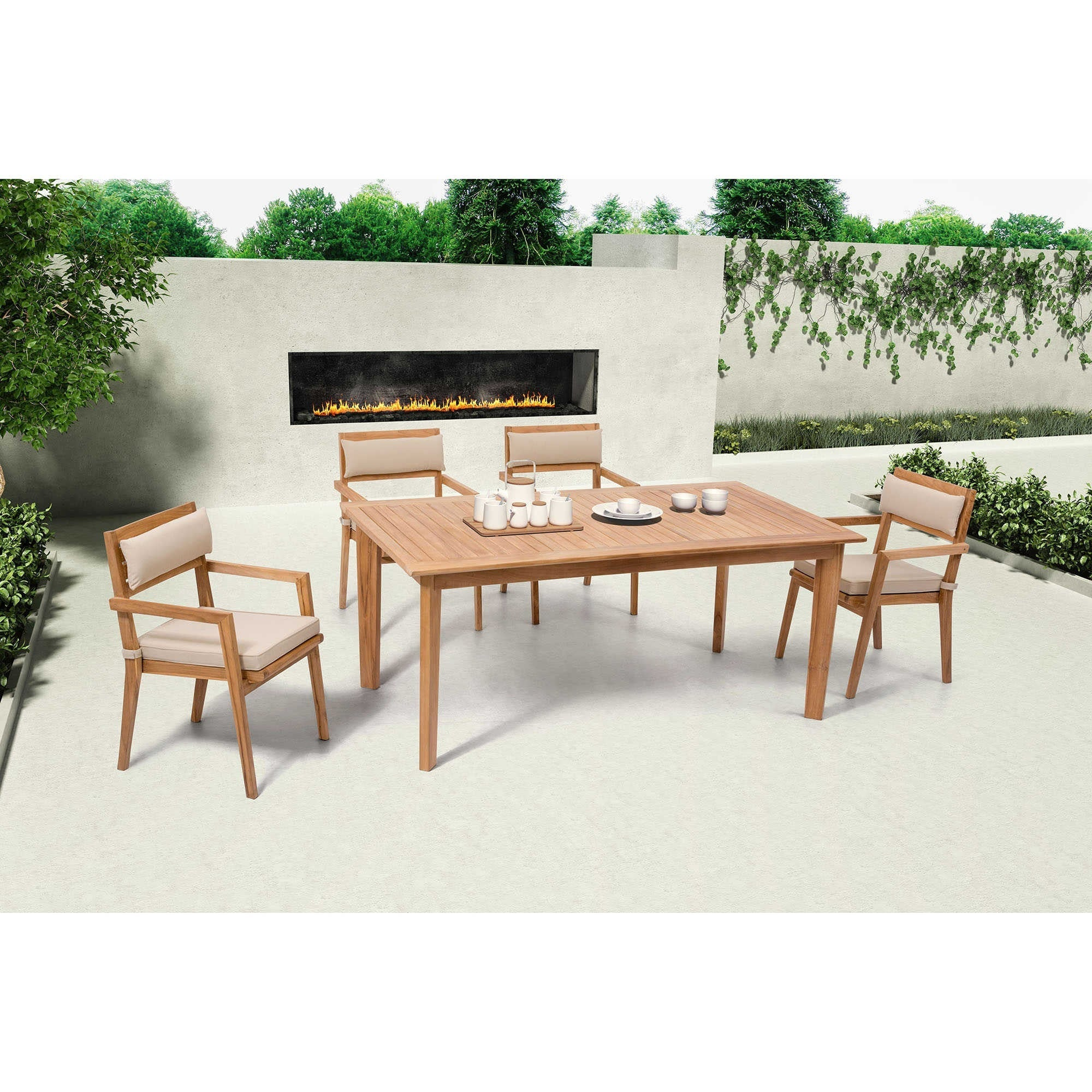 Zuo Modern Nautical Patio Dining Set (6 Chairs) Natural Teak Wood  703556 PD S3