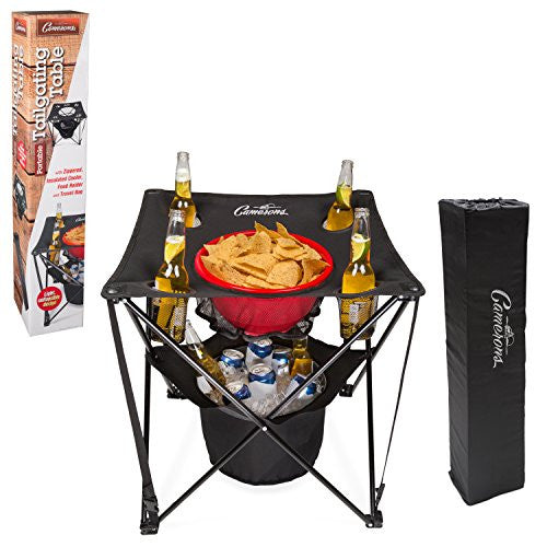 Collapsible Folding Table w Insulated Cooler, Food Basket, and Travel Bag