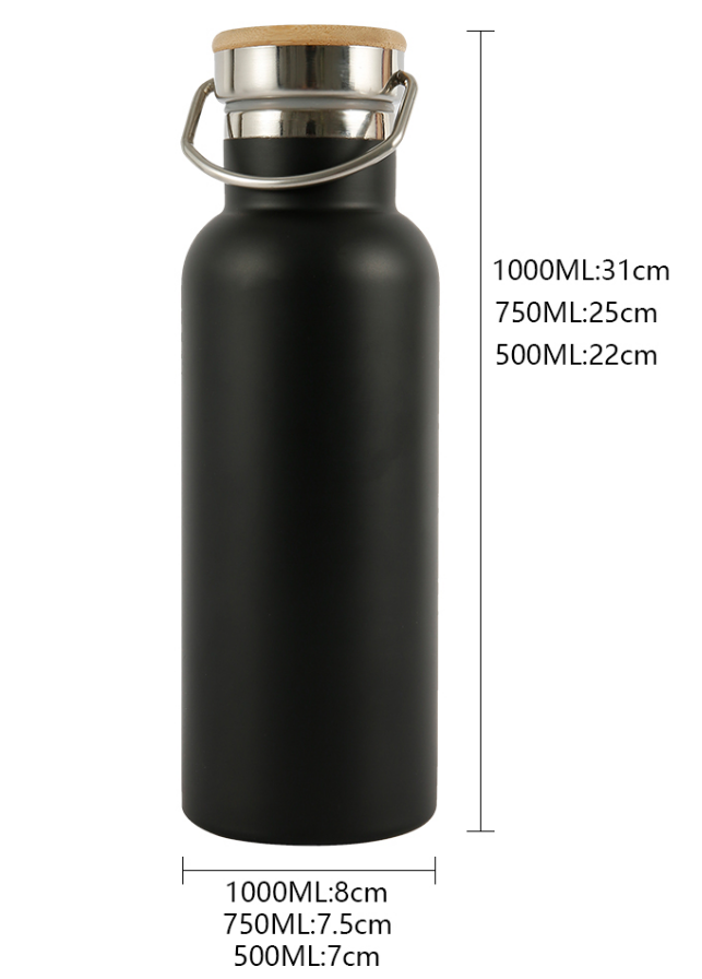 Insulated Stainless Steel Flask w Bamboo Lid - 3 Sizes
