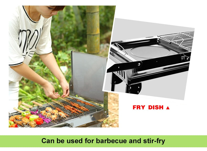 Portable Folding Charcoal-Fuel BBQ & Stir Fry Grill