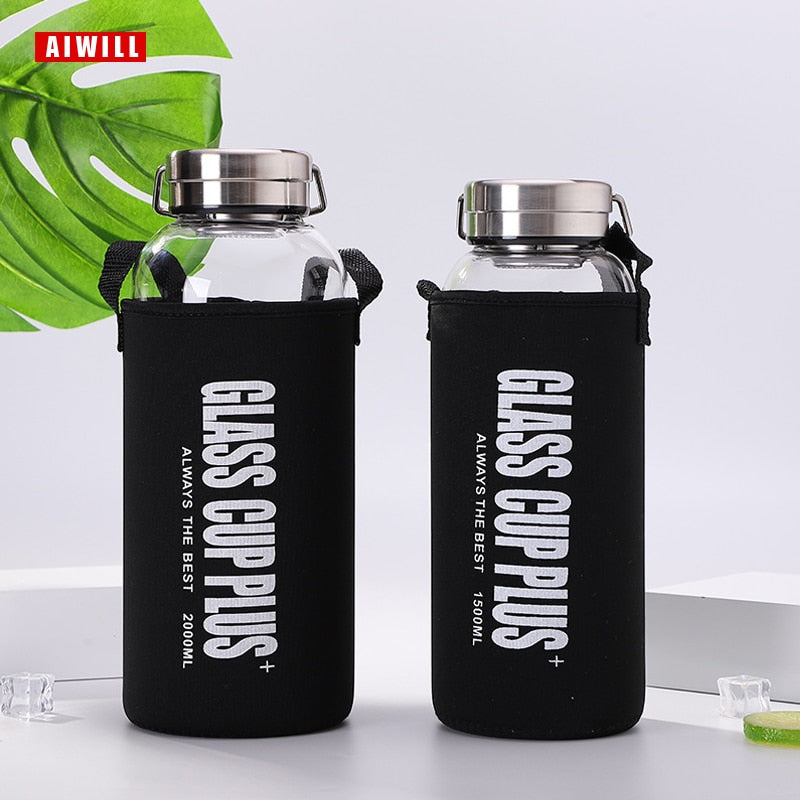 Glass Water Bottle w Cup & Cover - 4 Sizes