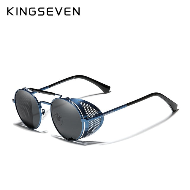 KingSeven Polarized Steampunk Round Retro Sunglasses