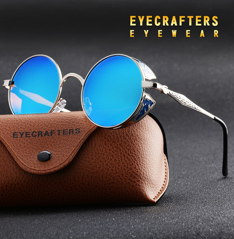 Gold Polarized Gothic Steampunk Mirrored Round Sunglasses