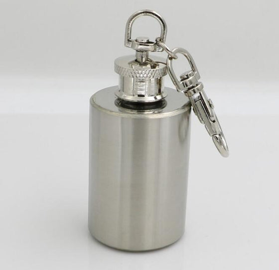 Stainless Steel 1oz Mini-Wine Flask Keychain