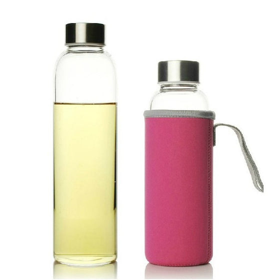 Glass Bottle w Stainless Steel Lid + Tote Bag - 3 Sizes