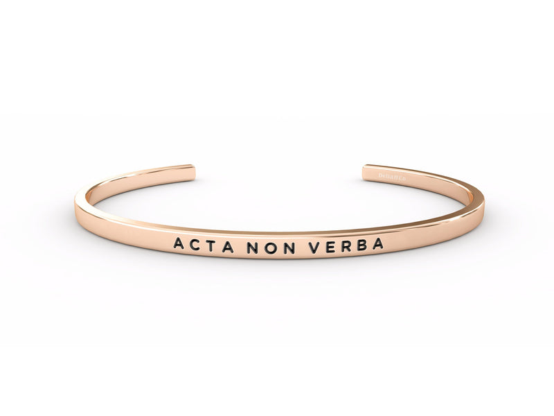 Acta Non Verba (actions, not words)  Rose Gold Delta & Co Bracelet by Delta & Co