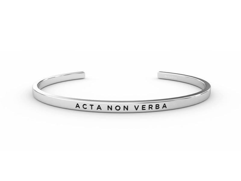 Acta Non Verba (actions, not words)  Silver Delta & Co Bracelet by Delta & Co