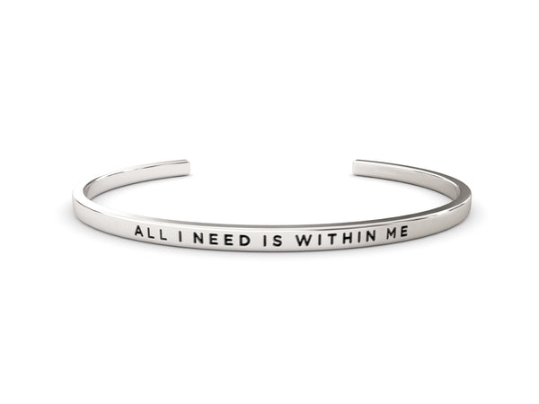 All I Need is Within Me  Silver Delta & Co Bracelet by Delta & Co