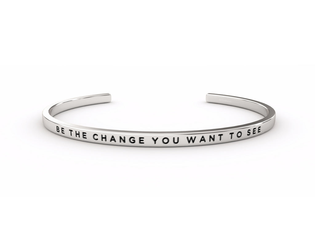 Be The Change You Want To See  Silver deltaband Bracelet by Delta & Co
