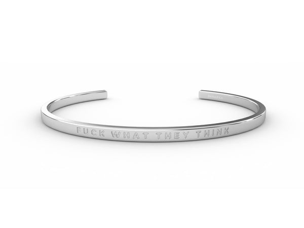 Fuck What They Think  Silver - Clear Delta & Co Bracelet by Delta & Co