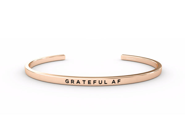 Grateful AF  Rose Gold Delta & Co Bracelet by Delta & Co
