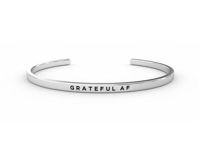 Grateful AF  Silver Delta & Co Bracelet by Delta & Co