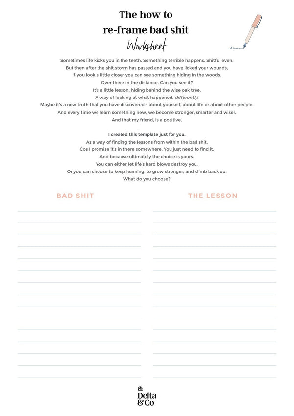 How to re-frame bad shit worksheet   Delta & Co Worksheet by Delta & Co