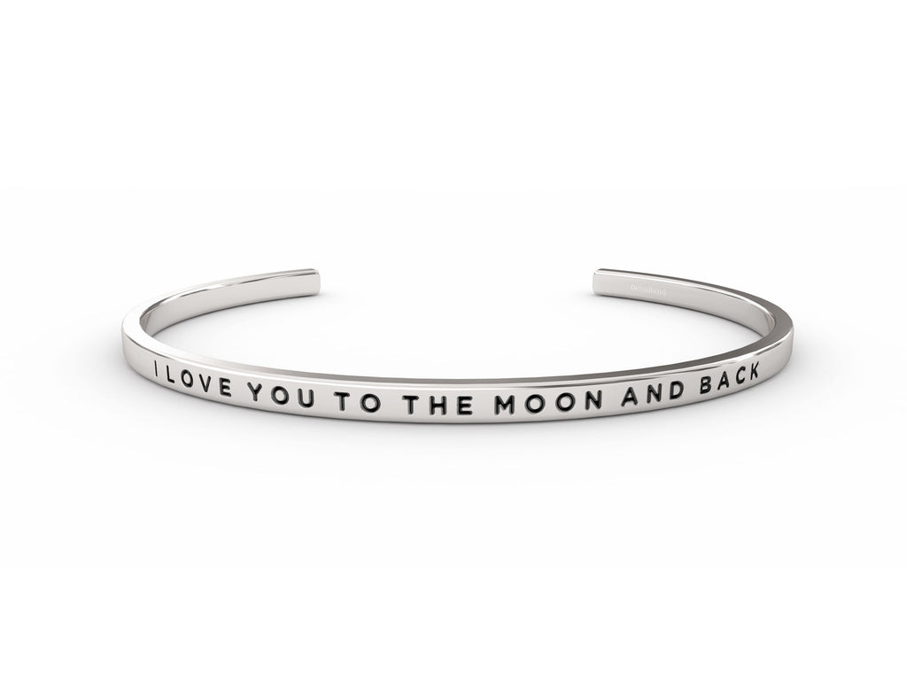 I Love You To The Moon And Back  Silver deltaband Bracelet by Delta & Co