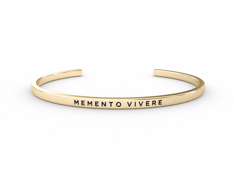 Memento Vivere (don't forget to live)  Gold Delta & Co Bracelet by Delta & Co
