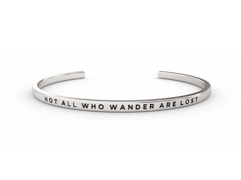 Not All Who Wander Are Lost  Silver Delta & Co Bracelet by Delta & Co