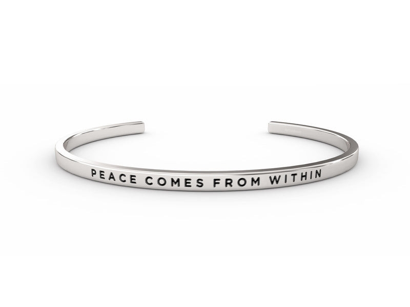 Peace Comes From Within  Silver Delta & Co Bracelet by Delta & Co