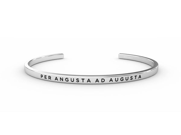 Per Angusta Ad Augusta (through difficulty, to honours)  Silver Delta & Co Bracelet by Delta & Co
