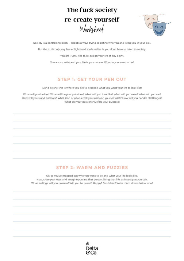 The fuck society re-create yourself worksheet   Delta & Co Worksheet by Delta & Co