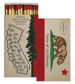 A matchbox variant that depicts the California flag on one side and a map of California on the other.  It has a rustic color scheme with a lot of weather-worn red, white, and green.