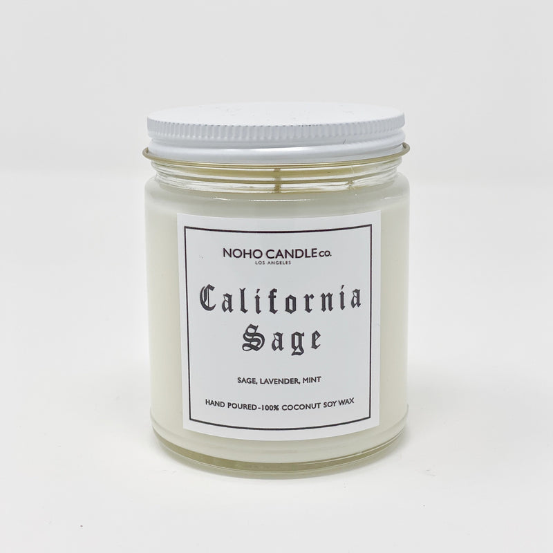 A 9oz jar containing 8 ounces of California Sage candle.  It has a white screw-on lid.
