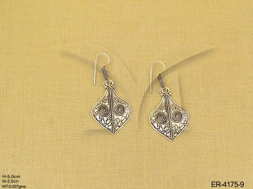 Paan Shaped Oxidized Silver Earrings