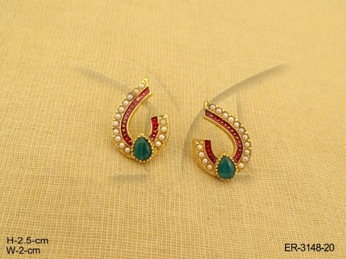 Paan Arc Antique Earrings with Pearl Beads, Ruby Red And Green Stones