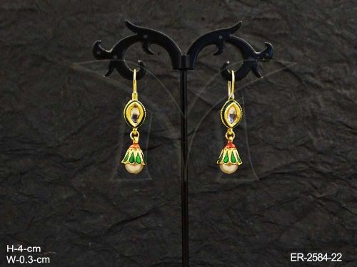 Paan Flower Shaped Drop Earrings With Ruby And Green Stones