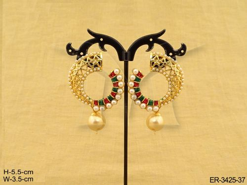 Chandbali Earrings with Drop Bead Pearls Ruby Green Stones