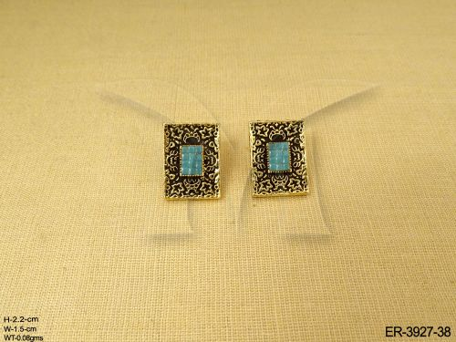Choker Style Earrings With Turquoise Stone