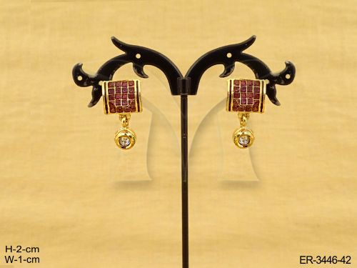 Square curved Antique Earrings with drops