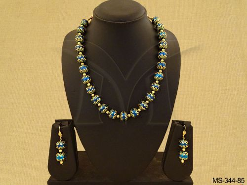 Peacock Blue Bead Jewelry With Matching Drops