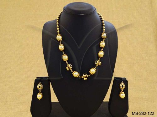 Beaded Chain Necklace Set With Drop Earrings